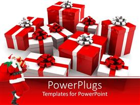 PowerPlugs: PowerPoint template with red and white Christmas gifts behind Santa Claus