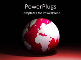 PowerPoint template displaying red and white colored earth globe on black background