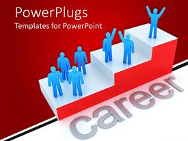 PowerPlugs: PowerPoint template with red and white glossy 3D ladder with blue figures and gray career word