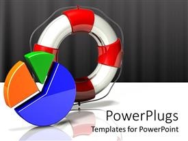 PowerPlugs: PowerPoint template with a red and white life buoy and a multi colored pie chart