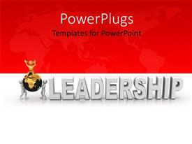 PowerPlugs: PowerPoint template with a red and a white part in the background with a globe in front