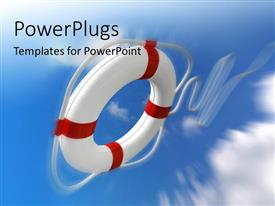 PowerPlugs: PowerPoint template with red and white if preserver thrown from cloudy sky