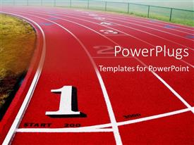 PowerPoint template displaying a red and white sports track with some figures and text