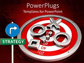 PowerPlugs: PowerPoint template with red and white target on red and white background