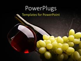 PowerPoint template displaying red wine in bottle and glass with a bunch of grapes on dark background