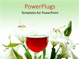 PowerPoint template displaying red wine in wine glass with beautiful lily flower around