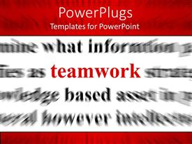 PowerPlugs: PowerPoint template with red word teamwork with black words on white background