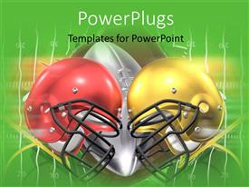 PowerPlugs: PowerPoint template with red and yellow American football helmets on ball and green surface