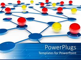 PowerPlugs: PowerPoint template with red and yellow balls on blue platforms connected by blue lines