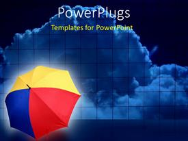 PowerPoint template displaying red, yellow, blue open umbrella resting on floor with clouds in background