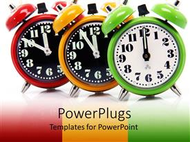 PowerPlugs: PowerPoint template with red, yellow, and green alarm clocks count down to twelve