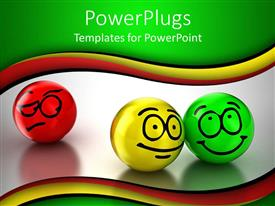 PowerPlugs: PowerPoint template with red, yellow and green ball expressing different emotions, sad face, smiling face, happy face on colorful background