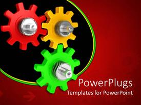 PowerPlugs: PowerPoint template with red, yellow, green and silver gears on red background