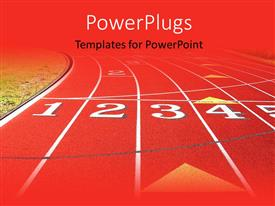 PowerPlugs: PowerPoint template with a red and yellow sports track with figures on it