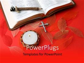 PowerPlugs: PowerPoint template with a reddish background with a cross and a holy bible