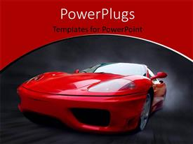 PowerPoint template displaying a reddish car with a blackish background and place for text