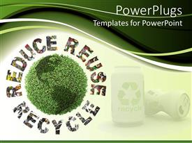 PowerPlugs: PowerPoint template with reduce, reuse, recycle words graming globe made of trees with aluminum cans with recycle symbol