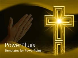 PowerPlugs: PowerPoint template with the reflection of holy light inside the holy cross