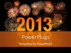 PowerPlugs: PowerPoint template with reflective 2D year 2013 with fireworks in night sky