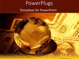 PowerPlugs: PowerPoint template with reflective earth globe sitting on one dollar bills
