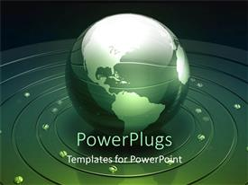 PowerPlugs: PowerPoint template with reflective globe on metallic base with screws