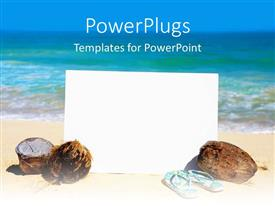 PowerPlugs: PowerPoint template with a reflective white board with coconuts and a pair of slippers