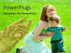 PowerPlugs: PowerPoint template with relationship between mother and son with green grass