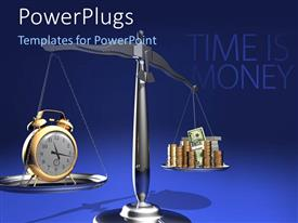 PowerPlugs: PowerPoint template with relationship between time and money, a balance between the two