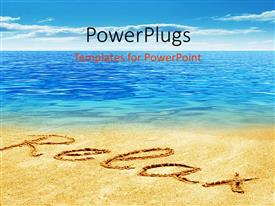 PowerPlugs: PowerPoint template with relax text written on a beach sand with a cool blue sea