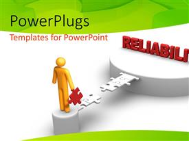 PowerPlugs: PowerPoint template with 3D man crossing puzzle bridge to RELIABILITY on platform