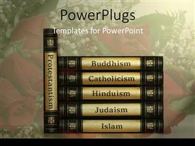 PowerPoint template displaying religion books with black and golden covers, protestantism, buddhism, catholicism, hinduism, judaism and islam