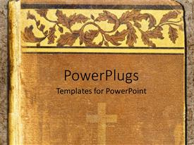 PowerPoint template displaying religious book cover with cross and religious inspired abstract design
