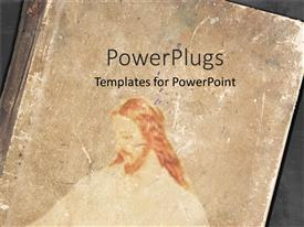 PowerPoint template displaying a religious book with Jesus on the cover