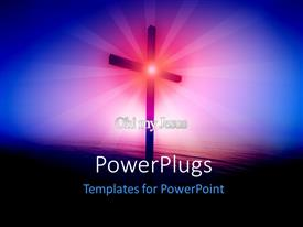 PowerPlugs: PowerPoint template with religious cross glowing over the sea at sunrise with rays in background