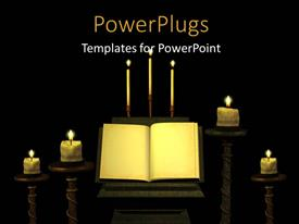 PowerPoint template displaying religious depiction with lighted candles and open vintage book