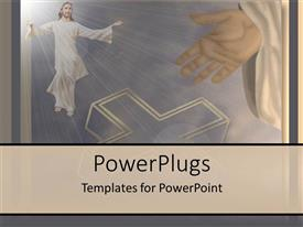 PowerPoint template displaying religious depiction showing resurrection with Jesus rising into bright sky