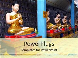 PowerPoint template displaying religious depiction with statue of Burmese Buddha in meditation