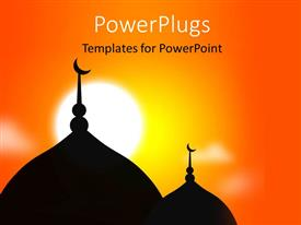PowerPoint template displaying religious Mosque silhouette during sunset Muslim community