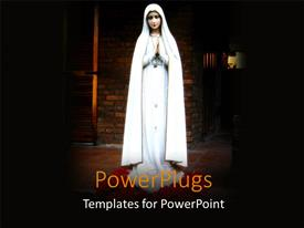 PowerPlugs: PowerPoint template with religious statue of virgin Mary with spotlight and brick wall