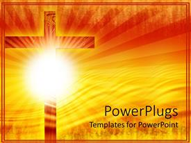 PowerPoint template displaying religious theme with big wooden cross and sun with rays over gradient yellow and orange background