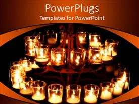 PowerPlugs: PowerPoint template with religious theme with burning candles in transparent glass in dark background