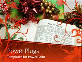 PowerPlugs: PowerPoint template with religious theme for Christmas with Bible opened on Matthew and Christmas present with abstract design over the depiction