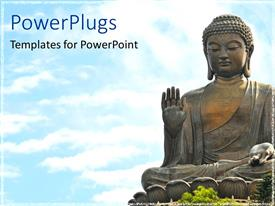 PowerPoint template displaying religious theme depicting statue of Buddha over bright blue sky background