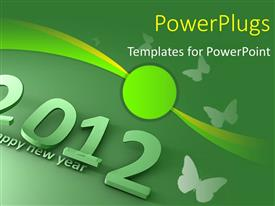 PowerPlugs: PowerPoint template with a green colored text that spell out the word '2012'