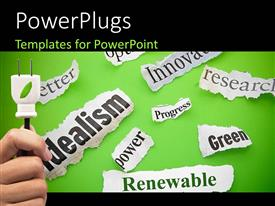 PowerPlugs: PowerPoint template with hand holds plug with renewable energy terms on green background