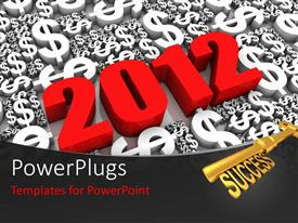 PowerPlugs: PowerPoint template with the representation of 2012 with a number of dollar sign