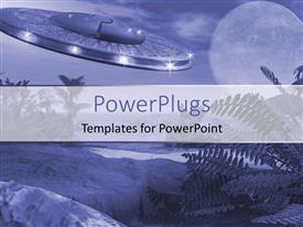 PowerPlugs: PowerPoint template with a representation of alien invasion with moon in the background