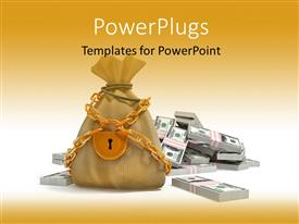 PowerPoint template displaying the representation of a bag of money locked