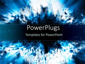 PowerPoint template displaying a representation of a blue explosion with place for text