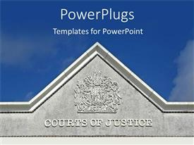 PowerPoint template displaying a representation of the building of court of justice
